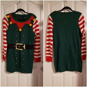 UGLY CHRISTMAS HOLIDAY ELF SWEATER DRESS LARGE